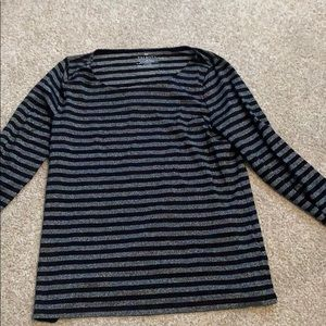 Talbots Silver and black striped shirt